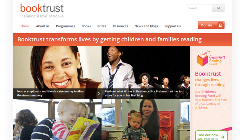 booktrust website simple homepage design