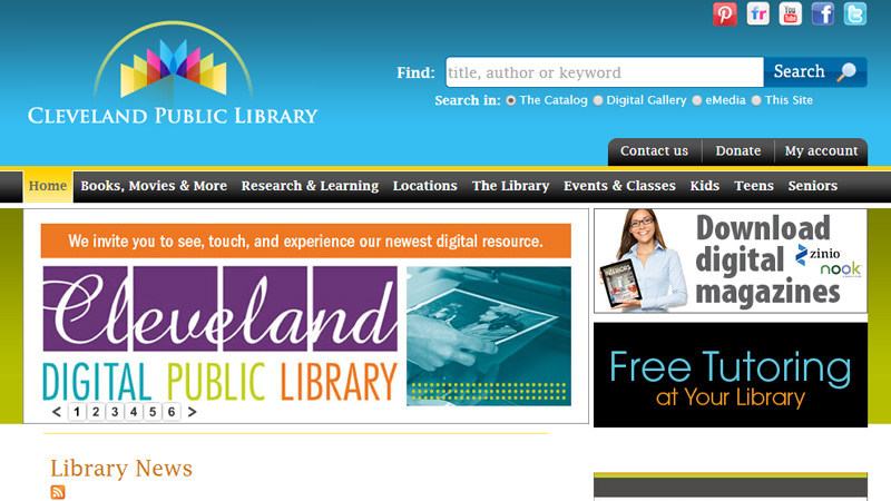 cleveland public library website homepage
