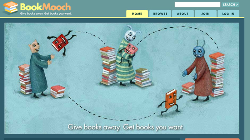 bookmooch website homepage layout design