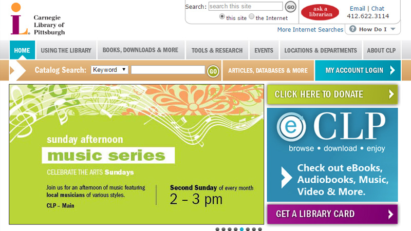 carnegie library website layout homepage