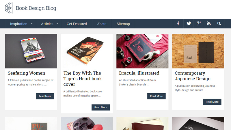 book design inspiration homepage layout