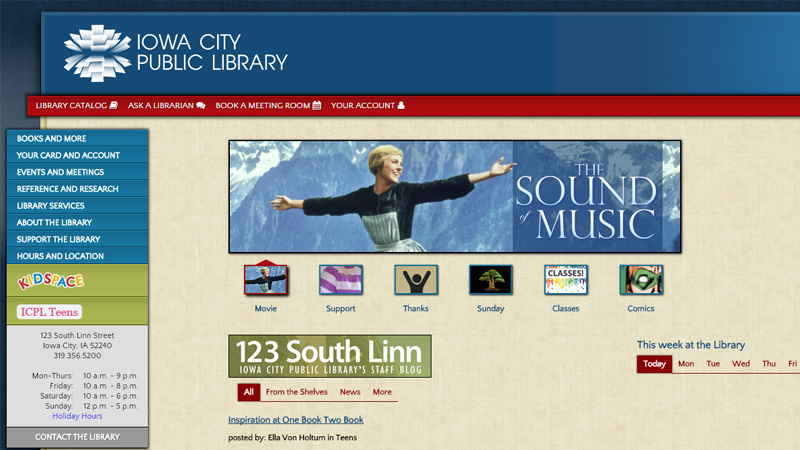 iowa city public library website homepage