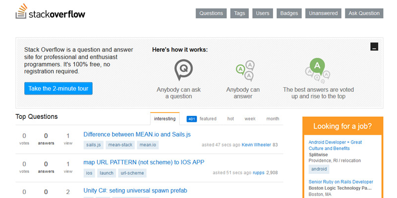 stack overflow homepage qa site