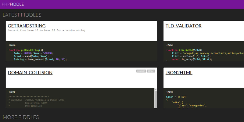 php fiddle homepage
