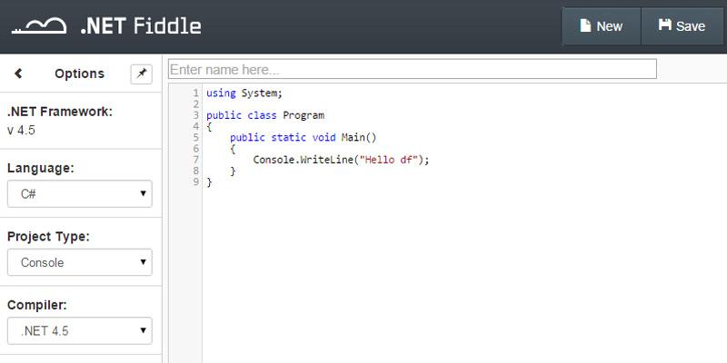 dot net programming fiddle cloud