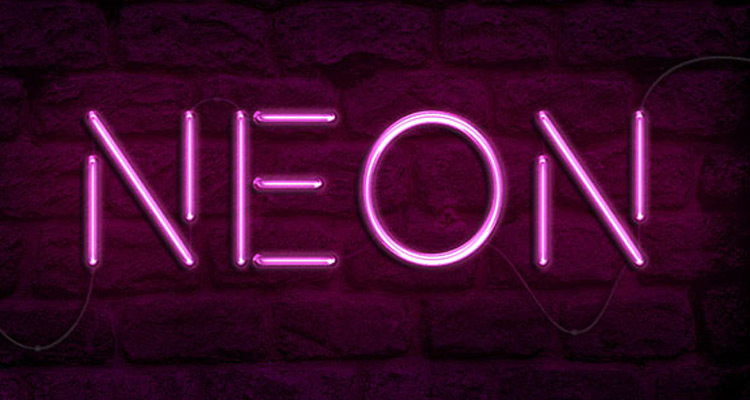 neon light photoshop text effect