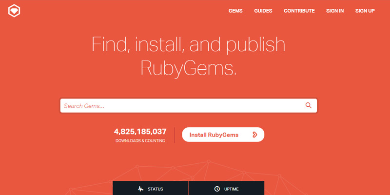 ruby gems catalog website homepage