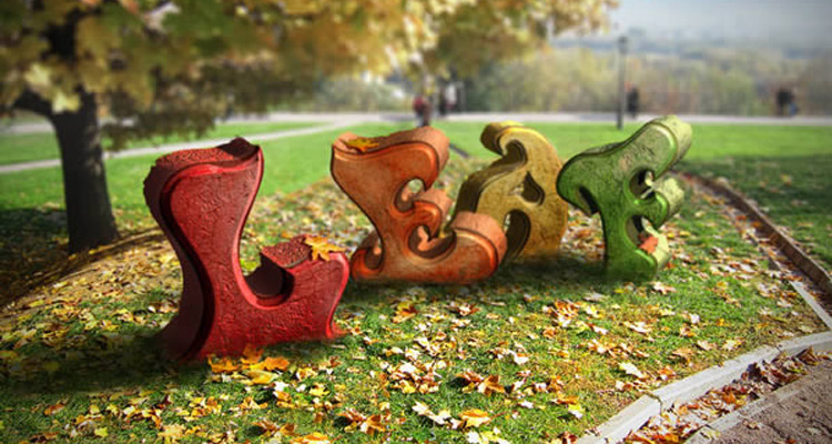 3d autumn leaves effect photoshop