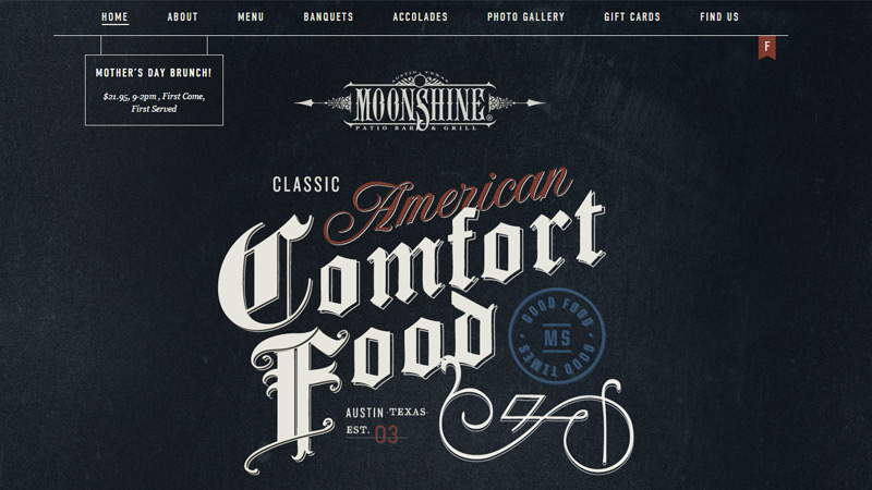 moonshine grill restaurant site design