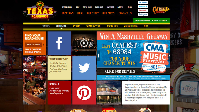 texas roadhouse restaurant website