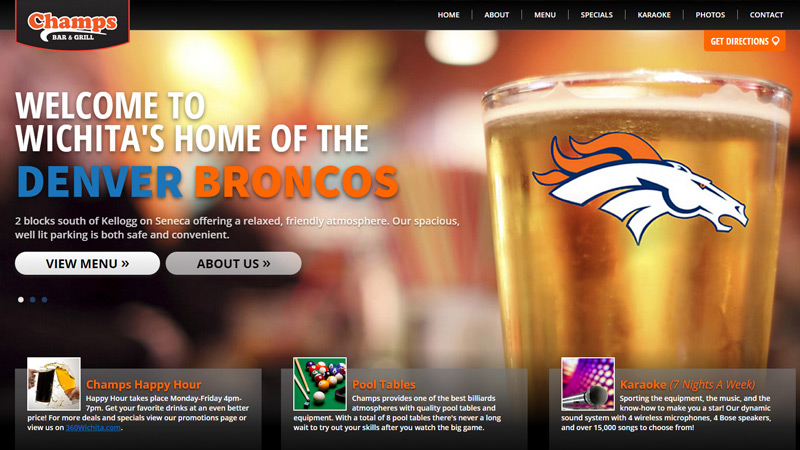 champs bar grill website