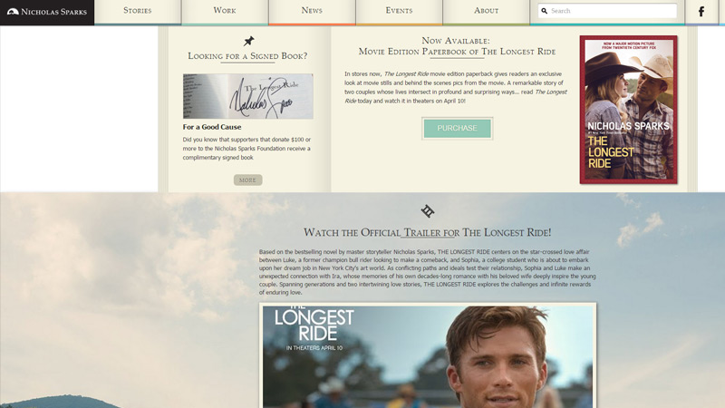nicholas sparks website writer portfolio