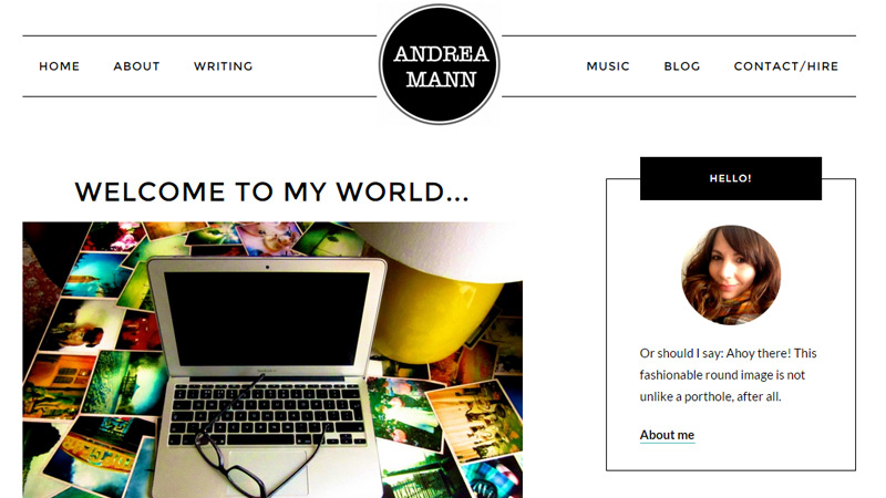 andrea mann writer portfolio simple