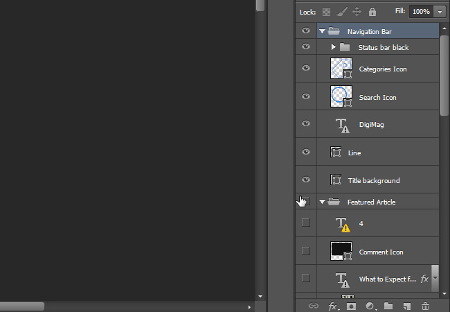 click drag layers hide ps