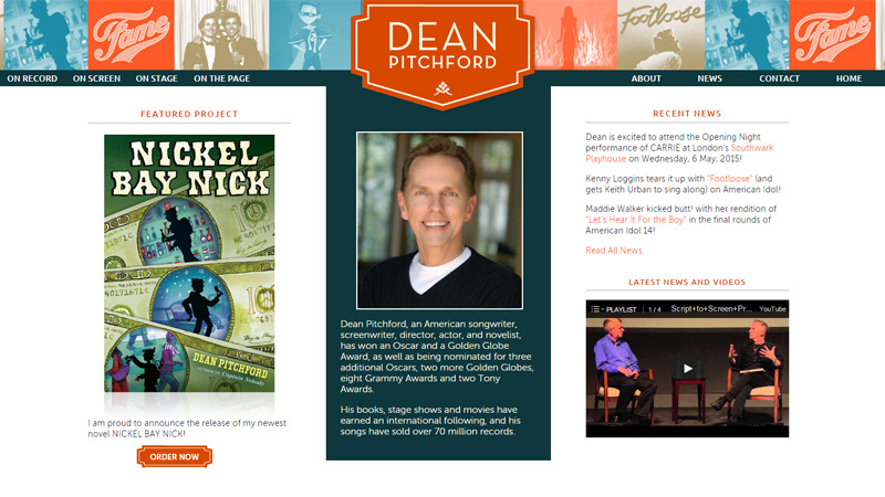 dean pitchford writer website portfolio