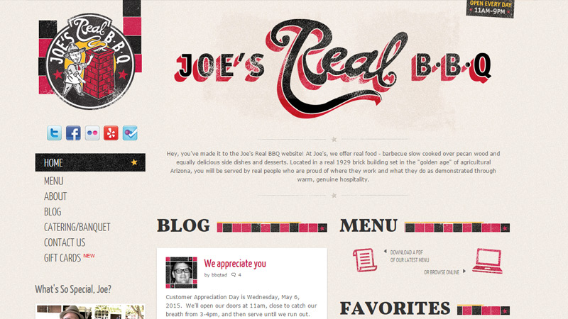 joe bbq website simple layout