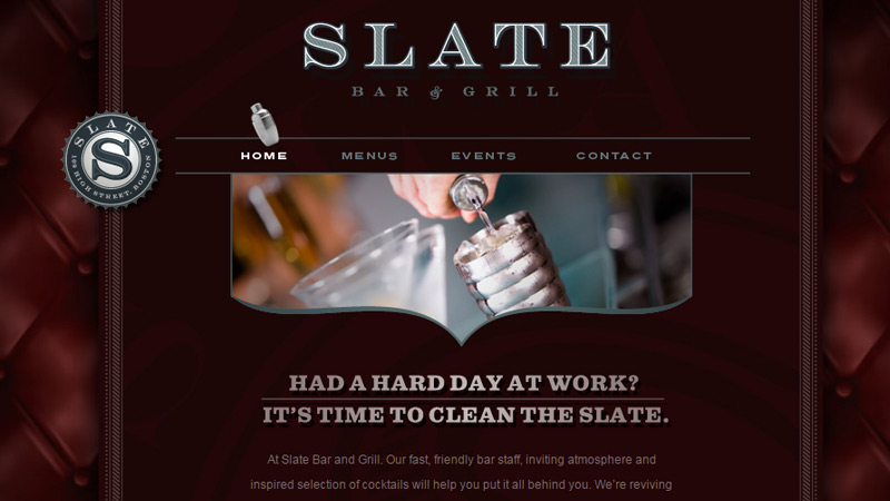 slate bar grill website layout