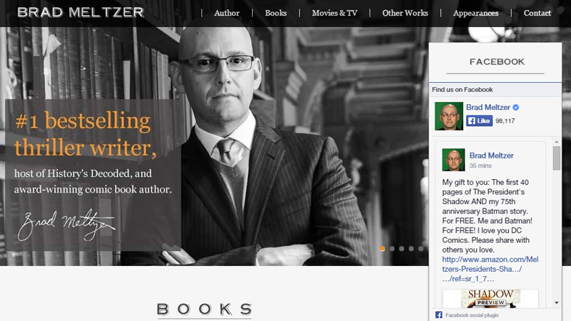 brad meltzer homepage layout design portfolio