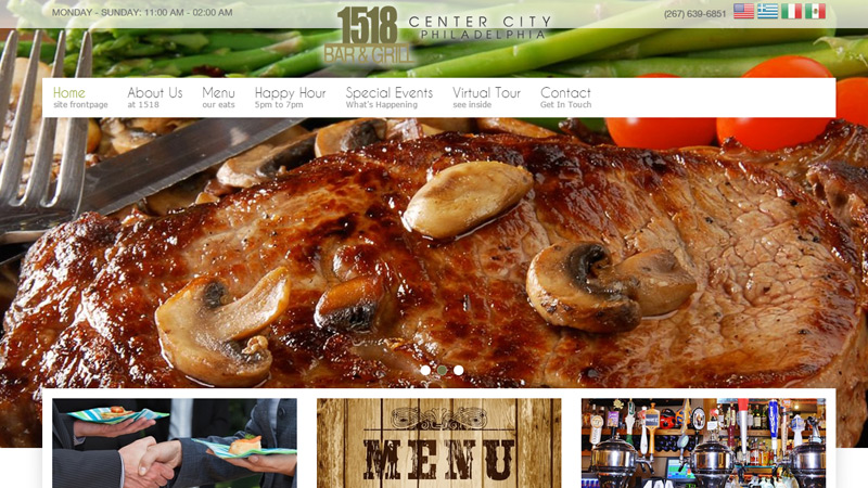 1518 bar grill philadelphia website design