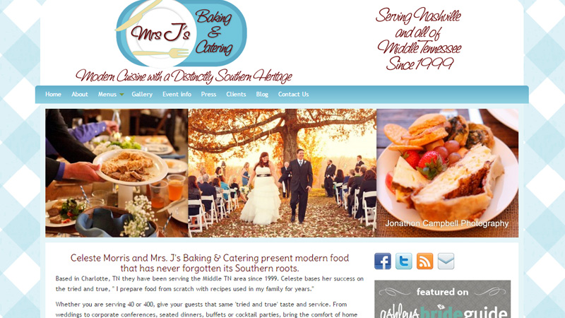mrs j baking catering website