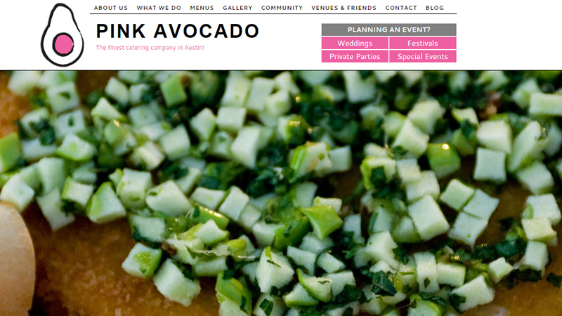 pink avocado catering website layout