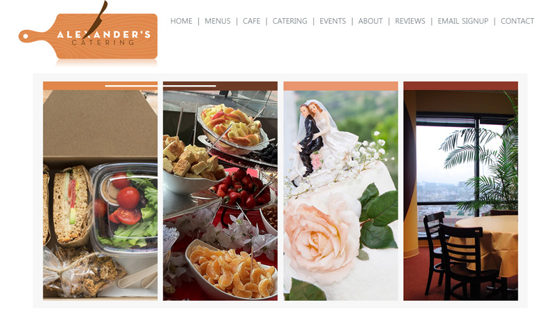 alexanders catering website layout