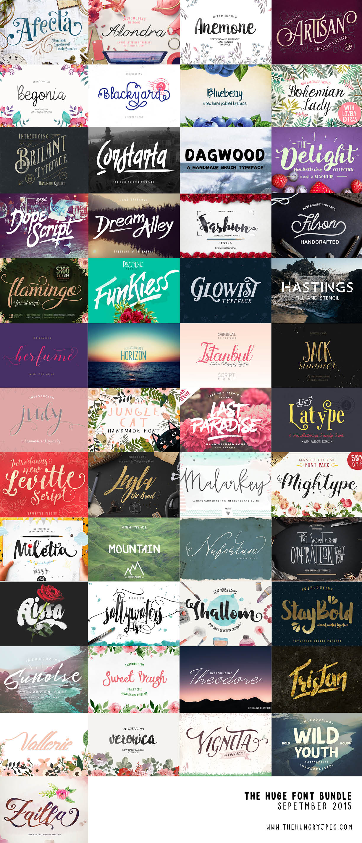 HungryJPEG September font bundle