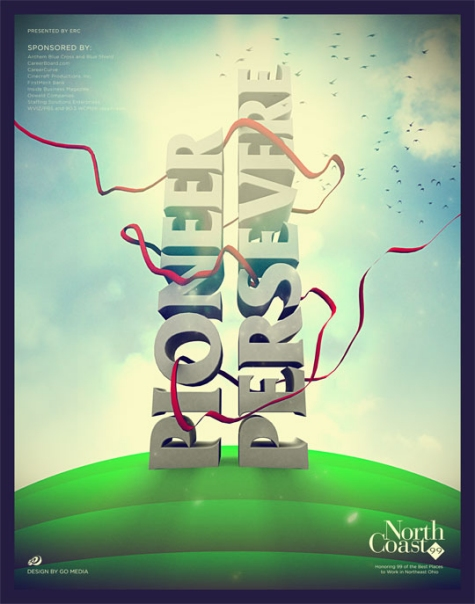 Retro Modernist Poster Design with 3D typography