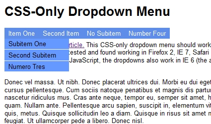 Easy CSS Dropdown Menus