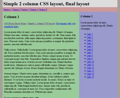 Simple 2 Column CSS Layout