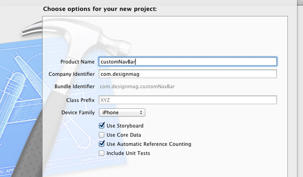 Naming your new iOS5 Xcode project