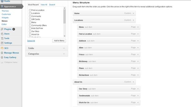 Menus Panel of WordPress Dashboard