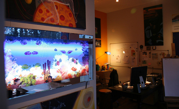 40 photos of creative offices freelance workspaces for Office fish tank
