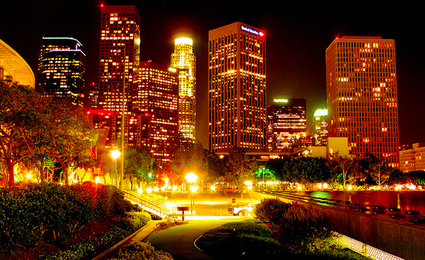 night lights in the city Los Angeles