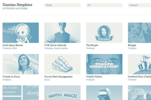 Damian portfolio website layout simplicity 2012