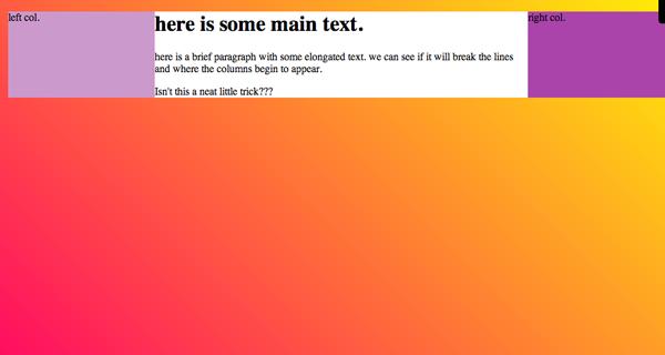 absolute positioning CSS layots screenshot Gist