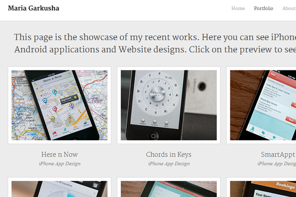 Maria Garkusha portfolio design interface layout