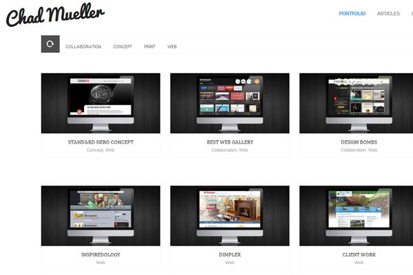 Chad Mueller website layout portfolio custom design