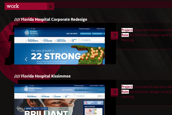 dark web design portfolio layout Josh Riggs