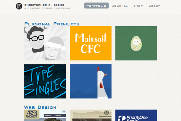 Christopher Cacho website layout design portfolio