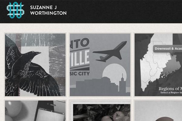 portfolio layout website design of suzanne worthington