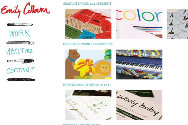 Emily Colburn website portfolio layout design