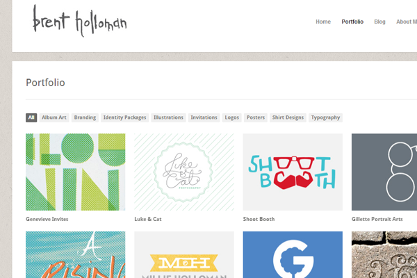 Brent Holloman website layout design portfolio inspiration