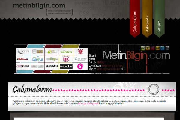 dark themed website layout design Metin Bilgin