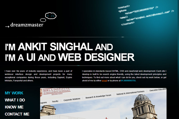 Ankit Singhal website portfolio designs layout