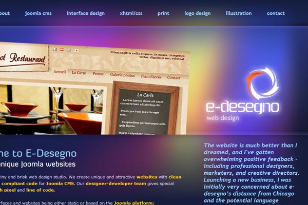 dark purple website layout interface design