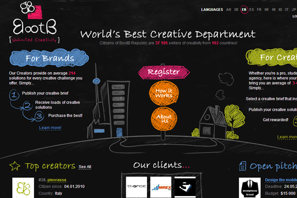 Dark Bootb website design interface community layout