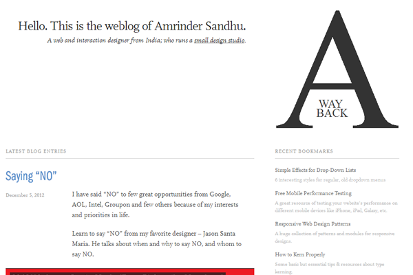 Amrinder Sandhu blog website layout interface