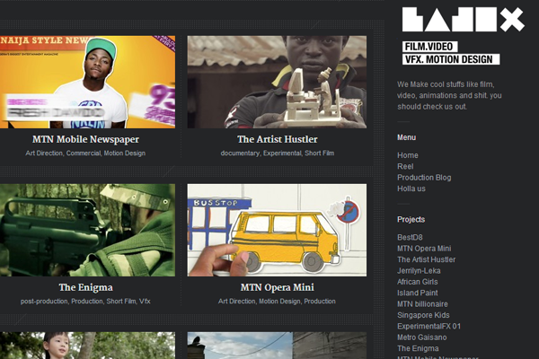 Badex website interface layout dark themed blog