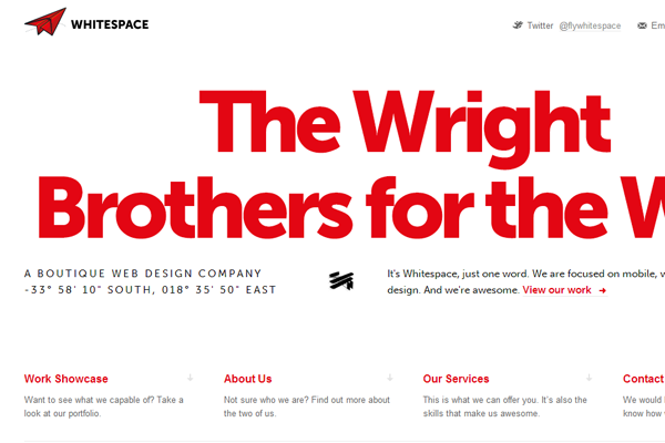 whitespace design portfolio - Wright Brothers for the web